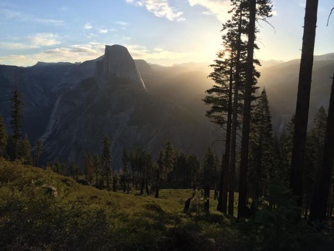 First 10 minutes of day break, descending the Panorama Trail from Glacier Point
