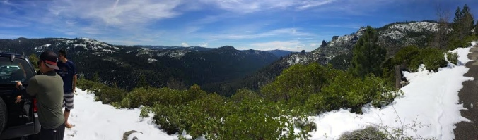 Panorama shot from Wrights Lake Road across the Desolation Wilderness