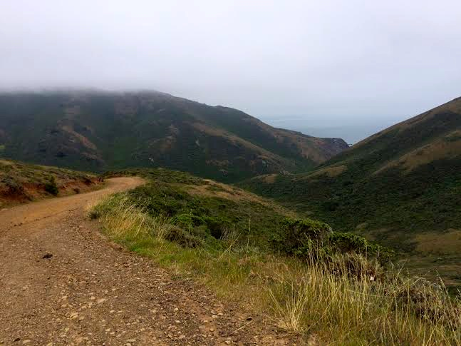 Top of the fire road, looking down at Tennessee Valley - shoreline hidden by the hills.