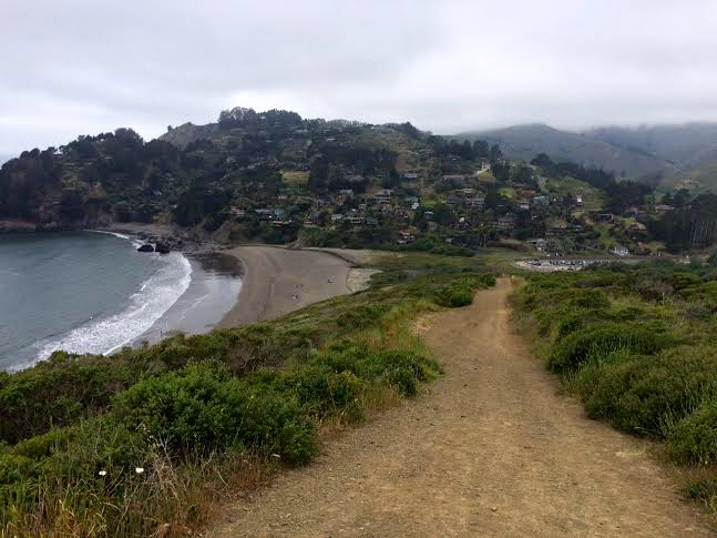 Quarter-mile into the hike, looking down at Muir Beach.