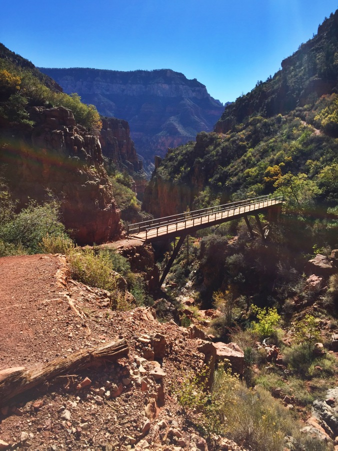 One of the dozens of bridges crossing the canyon between both rims.
