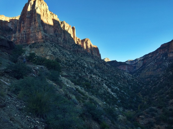 Sunlight slowly creeping into the canyon, around mile 11.